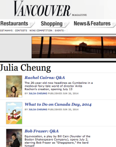 Vancouver Magazine Online Portfolio