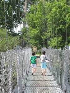 kids walking on bridge